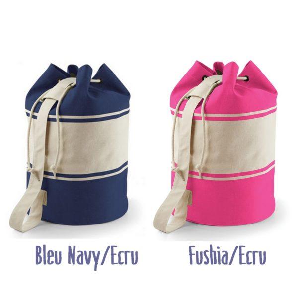 Coloris disponibles des sacs marins personnalisés